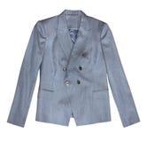 Popielata klasyczna żeńska biurowa kurtka odizolowywająca obraz stock