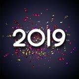 Popielata nowego roku 2019 karta z kolorowymi błyszczącymi papierowymi confetti royalty ilustracja