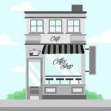 Popielata sklep z kawą witryny sklepowej budynku tła ilustracja Zdjęcie Royalty Free
