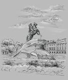 Popielata wektorowa ręka rysuje ST Petersburg 3 royalty ilustracja