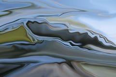 Popielate góry 00233 A - Abstrakcjonistyczny góra krajobraz z chodzenie rzeką i chmurami ilustracja wektor