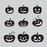 Popielate Halloween dyniowe ikony ustawiać ilustracja wektor