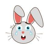 popielaty avatar królik z emocjonalną płacz twarzą, grafika ilustracji