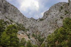 Popielaty burzowy niebo nad kamiennymi górami z zielonym lasem obrazy stock