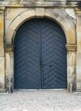 Popielaty drzwi w marmur ścianie Obrazy Royalty Free