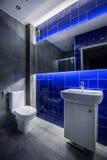 Popielaty i błękitny łazienka pomysł zdjęcia stock