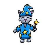 Popielaty kota czarownik ilustracji