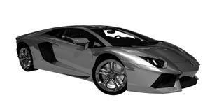 Popielaty luksusowy sporta samochód z kruszcowym kolorem royalty ilustracja