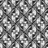 Popielaty monochromiczny abstrakcjonistyczny geometryczny wzór z matematyka kształtami i symbolami ilustracja wektor