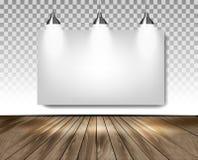 Popielaty pokój z trzy światłami i drewnianą podłoga Sala wystawowej pojęcie Zdjęcie Stock