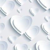 Popielaty walentynka dnia bezszwowy wzór z 3d sercami Obraz Stock