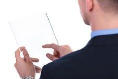Popiera biznesowy mężczyzna pracuje na przejrzystym ekranie Zdjęcie Stock