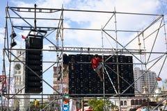Popiera ekran dla festiwalu muzyki w Iquique, Chile Zdjęcia Royalty Free