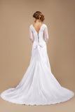 Popiera Kasztanowa kobieta w Długiej Świątecznej sukni Fotografia Stock