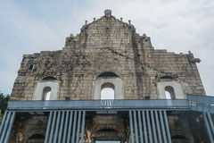 Popiera ruiny St Paul ` s, sławna atrakcja turystyczna wewnątrz Obrazy Royalty Free