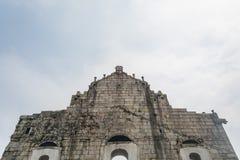 Popiera ruiny St Paul ` s, sławna atrakcja turystyczna wewnątrz Fotografia Stock