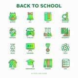Popiera szkół cienkie kreskowe ikony ustawiać: plecak, dzwon, książka, mikroskop, wiedza, sowa, skalowanie nakrętka, autobus, che ilustracja wektor