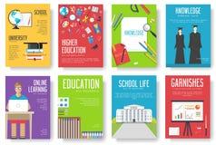 Popiera szkół ewidencyjne karty ustawiać Studencki szablon flyear, magazyny, plakaty, książkowa pokrywa, sztandary Szkoły wyższa  royalty ilustracja