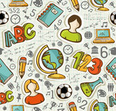 Popiera szkół ikon edukaci bezszwowy wzór. Zdjęcia Stock