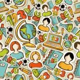 Popiera szkół ikon kolorowej edukaci bezszwowy wzór. Obraz Royalty Free