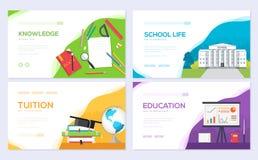 Popiera szkoły ewidencyjnej broszurki karty set Studencki szablon flyear, sieć sztandar, ui chodnikowiec, wchodzić do miejsce ukł royalty ilustracja