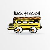Popiera szkoła, żółty autobus szkolny Zdjęcia Royalty Free