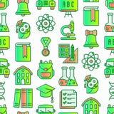 Popiera szkoła bezszwowy wzór z cienkimi kreskowymi ikonami: plecak, dzwon, książka, mikroskop, wiedza, sowa, skalowanie nakrętka royalty ilustracja