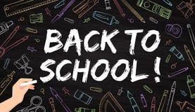 Popiera szkoła - biurowe dostawy rysować z kredą na blackboard royalty ilustracja