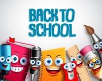 Popiera szkoła charakterów tła wektorowy szablon z kolorowymi śmiesznymi szkolnymi kreskówek maskotkami Obraz Royalty Free