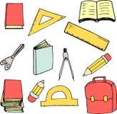 Popiera szkoła elementy w kreskówka stylu Wielki dla druku, karcianego projekta, tkaniny lub tapety, ilustracji