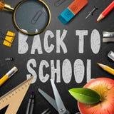 Popiera szkoła kredowego rysunku szablon z szkołami Zdjęcia Royalty Free