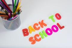 Popiera szkoła listy i coloured ołówki zdjęcie royalty free