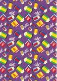 Popiera szkoła materiały tła ustalony purpurowy wzór Zdjęcie Stock