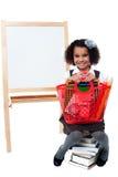 Popiera szkoła. Powabny uśmiechnięty uczeń. Obrazy Stock