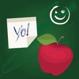 Popiera szkoła projekt z jabłkiem Zdjęcia Royalty Free
