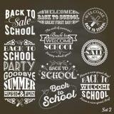 Popiera szkoła projekta kolekcja Set rocznika styl Z powrotem szkoły przyjęcie na Czarnym Chalkboard tle i sprzedaż Obraz Royalty Free
