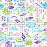 Popiera szkoła, ręki rysować barwić sylwetki na ciosowym papierze, nakreślenie, doodle, bezszwowy wzór ilustracja wektor