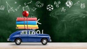 Popiera szko?a samochodu animacja ilustracji