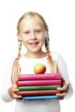 Popiera szkoła. Szczęśliwy uczeń, uśmiechnięta dziewczyna Fotografia Stock