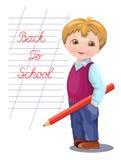 Popiera szkoła sztandar i szkoły wycena, karta z uczniem w mundurze z powrotem Obrazy Stock