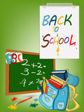 Popiera szkoła sztandar, Schoolbag z muśnięciami, nauki ikona Zdjęcie Royalty Free