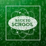 Popiera szkoła sztandar z teksturą od kreskowej sztuki ikon edukacja, nauka przedmioty i biurowe dostawy na zieleni, Obrazy Stock
