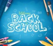 Popiera szkoła tekst Pisać w Błękitnym Chalkboard tle ilustracji