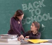 Popiera szkoła, uczeń i nauczyciel, fotografia stock