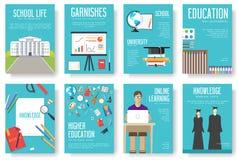 Popiera szkoła ustawiająca kart ilustracj projekta broszurka royalty ilustracja