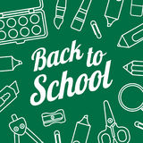 Popiera szkoła wektorowy szablon z szkolnym materiały Zdjęcie Royalty Free