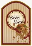 Popiera szkoły jesieni karta z liście, wektor ilustracja wektor