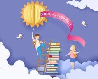 Popiera szkoły karta z chłopiec, książkami i słońcem, Zdjęcie Royalty Free