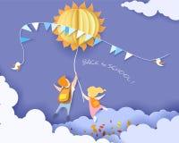 Popiera szkoły karta z dzieciakami, liśćmi i słońcem, Obrazy Stock