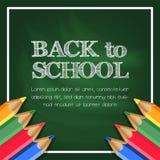 Popiera szkoły kreda z zielonym chalkboard z ołówkową kolor ramą zdjęcie royalty free
